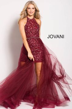 Jovani 45813 is a high low prom gown with a beaded short high neck dress and a sheer long overskirt. Prom Dresses Jovani, Beaded Prom Dress, Embellished Dress, Homecoming Dresses, Evening Dresses, Halter Dresses, Formal Dress Stores, Formal Dresses, High Low Prom Dresses