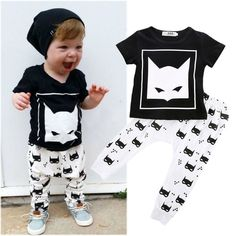 Newborn Infant Kids Baby Boys Batman T-shirt +Pants Outfits Clothes Set 0-24M #Unbranded #Everyday