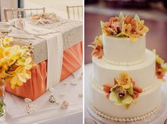 Color Ideas to match Martina Liana gown Orange summer wedding ideas / Ever After Events