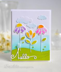 Hello #card by Kay Miller #PaperSmooches #DaintyFlowers