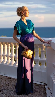 I think dolman sleeves ad pounds and age. I'd do this with tank style opening at the sleeves stunning maternity gown