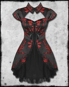 how+to+make+steampunk+woman+pantaluns | BLACK RED CHINESE FLORAL ROSE SATIN GOTH STEAMPUNK MINI DRESS