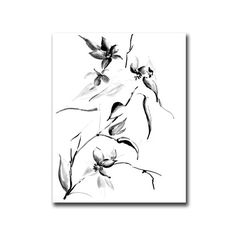 Black and White Flowers Ink Drawing Art Print, Modern Floral Wall Art