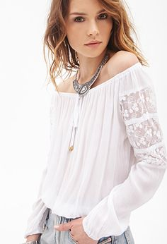 BOHO Crochet-Paneled Peasant Top | FOREVER21 -   We admit it - we gaze longingly at vintage photos of our moms and despair over the fact that they didn't save the perfect pieces from their glorious flower child wardrobes for us. Sound familiar? Not to worry. This top, crafted in classic shirred gauze, with sheer crochet-paneled shoulders, a self-tie boat neck, and a billowy shape that will do your 70s alter-ego proud, is singlehandedly saving our wardrobes (and it's got yours covered, too).