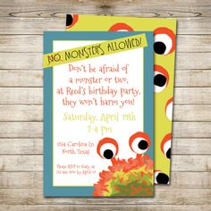 PRINTABLE / DIY Monster Party Invitation by flamingodesigns