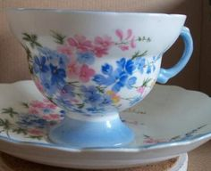 Vintage Rosina Bone China Larkspur teacup set by earthlietreasures for $22.00
