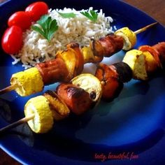 Something to grill this summer. Healthy Turkey Kielbasa Kebabs by DomesticatedAcademic Healthy Diet Recipes, Low Calorie Recipes, Healthy Nutrition, Healthy Cooking, Healthy Eating, Skinny Recipes, How To Cook Kielbasa, Steak Dishes, Grilled Turkey