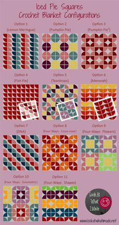 Opciones de diseño con 1/4 de circulo.  http://www.lookatwhatimade.net/crafts/yarn/crochet/free-crochet-patterns/iced-pie-square-crochet-pattern/