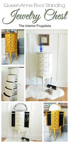 Floor Standing Jewelry Chest Makeover Before and After | The Interior Frugalista