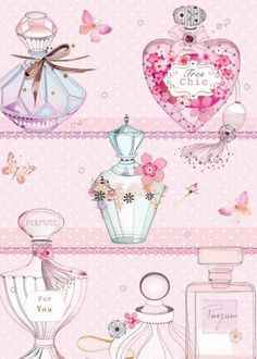 Perfumes by Lynn Horrabin clothing accessories, collections, valentine's day, bottles, pink girlie girls Cute Wallpapers, Wallpaper Backgrounds, Iphone Wallpaper, Arte Fashion, Cute Illustration, Illustrations, Perfume Bottles, Pink Perfume, Artsy