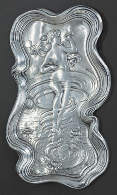 Silver Holloware, American:Desk Accessories, AN UNGER BROTHERS LADY OF THE POND PATTERN SILVER CARD TRAY,Newark, New Jersey, circa 1900. Marks: UB