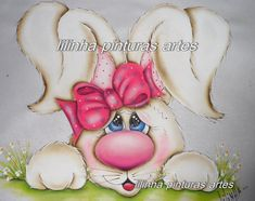 Would be really cute painted on burlap and made into a door hanger for Easter. Bunny Painting, Fabric Painting, Tile Painting, Easter Paintings, Tole Painting Patterns, Burlap Door Hangers, Bunny Face, Crafts For Seniors, Spring Projects