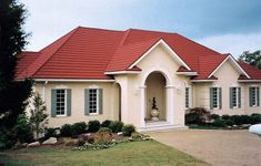 Ideas for house exterior colors cream metal roof Stucco Colors, Roof Colors, Exterior Paint Colors For House, Exterior Colors, Red Roof House, Facade House, Houses With Red Roof, Sage Green House, Metal Roof Houses