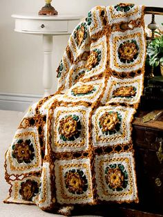 Seasonal Crochet - Fall Crochet Patterns - Autumn Lace Free Crochet Afghan Pattern