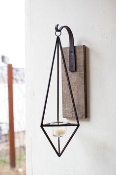 Kalalou Distressed Hanging Metal Diamond-Shaped Wall Candle Sconce