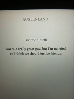 Austenland book dedication. Love it.