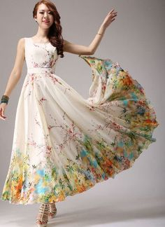 Light Yellow Maxi Dress with Colorful Floral Printed Hem RM292 – RobePlus