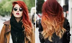Lindo red orange yellow white ombré hair light tips dark roots hair color