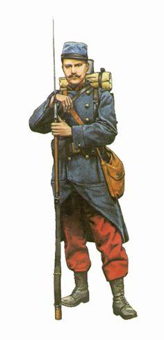 Soldado del 54º Regimiento de Infantería, va armado con un fusil M1886-93 con bayoneta, Francia, 1914.