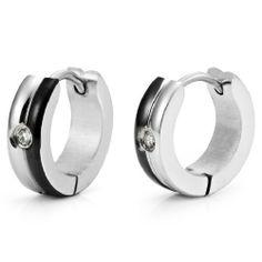 RB Joyas - Pendientes de hombre, anillos elegantes 2 colores  óxidos de circonio, acero inoxidable, color plateado / negro: Amazon.es: Joyería