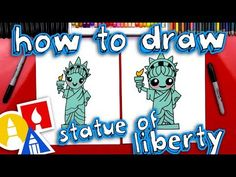 Today we're learning how to draw the Statue of Liberty! We hope you and your kids will follo. Art For Kids Hub, Food Art For Kids, Art Hub, Arts And Crafts Storage, Fun Arts And Crafts, Superhero Art Projects, Kids Bulletin Boards, Kindergarten Art Projects, School Projects