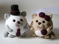 Round Cats Wedding Cake Topper by fliepsiebieps1, via Flickr