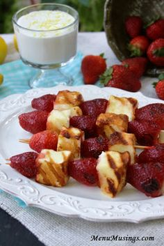Grilled Strawberry Shortcake Kabobs with Lemon Scented Whipped Cream.  Yes!!!  Perfect for your Labor Day grilling parties or just any time.  And super easy.  Step-by-step photo.