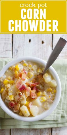 My mom's recipe for Crock Pot Corn Chowder - you can't go wrong when it's mom's recipe! This corn chowder recipe can be made with fresh or frozen corn so it's perfect all year long. Slow Cooker Corn Chowder, Slow Cooker Soup, Slow Cooker Recipes, Cooking Recipes, Crockpot Recipes, Crockpot Chicken Corn Chowder, Slow Cooking, Cooking Light, Best Soup Recipes