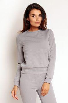 Szara pikowana bluza damska - TheTwiggyShop.com