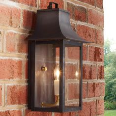 Georgian Outdoor Wall Light - 1 Light blackened_copper_with_clear_gl