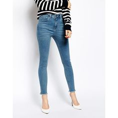 ASOS Ridley Skinny Ankle Grazer Jeans in Rosebowl Mid Wash Blue with... ($28) ❤ liked on Polyvore