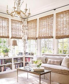 Find beautiful examples of bamboo shades used in various interiors. A great window treatment idea for your next home design project! Sunroom Window Treatments, Farmhouse Window Treatments, Window Coverings, Window Valances, Living Room Furniture, Living Room Decor, Sunroom Furniture, Home Living Room, Fixer Upper House