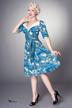 revere pleat vintage style dress