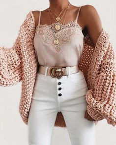 Bubble knit cardigan outfit idea for fall! Casual outfit with a cardigan, lace c. - Bubble knit cardigan outfit idea for fall! Casual outfit with a cardigan, lace cami, and white high - Winter Fashion Outfits, Cute Fashion, Look Fashion, Spring Outfits, Womens Fashion, Fashion Ideas, Fashion Trends, Fashion Spring, Ladies Fashion