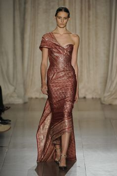 Marchesa RTW Spring 2013 - Red and Gold One Shouldered Glamour.