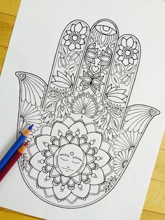 Hamsa Meditation Hand Drawn Adult Coloring Page by MauindiArts