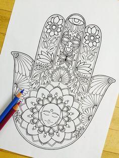 "Hand Drawn Adult Coloring Page Print - ""Hamsa Meditation"""