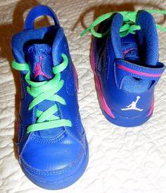Nike Air Jordan 6 Game Royal Pink Green Vivid TD Toddler Size 9C 384667-439 #NikeJordan #Athletic