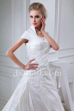 Drop Waist Wedding Dresses High Neck Chapel Train Taffeta Satin Ivory 010010701734