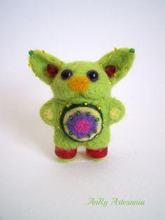 Needle Felted miniature Alieni small fantasy toy gift by ArteAnRy, Softies, Plushies, Needle Felted, Felt Brooch, Felt Projects, Felt Toys, Felt Animals, Brooches, Dinosaur Stuffed Animal