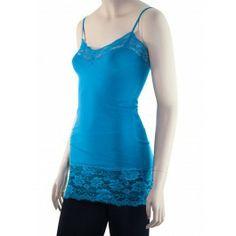 8a72da642431e0 Juniors Sexy Turquoise Blue Long Lace Trim Basic Cami Tank Top! http