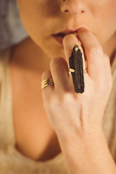 black tourmaline ring / raw black tourmaline ring / gold by Onata, $75.00