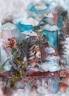 Painting on silk ready to frame-----------just beautiful