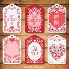 Adorável decorativo valentine pacote de etiquetas dia Vetor grátis