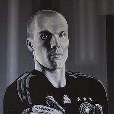 Robert Enke - acrylic painting by Paul Meijering - 90 x 90 cm