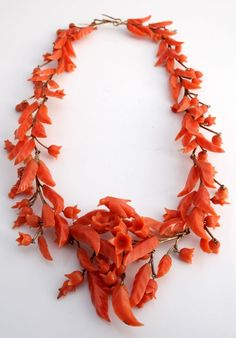Antique C. 1810 Georgian Victorian 14k Gold Carved Salmon Coral Floral Necklace! Collar