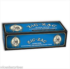 Zig Zag White Tip King Size Cigarette Tubes - Lot Of 5 Boxes=1,000 Tubes