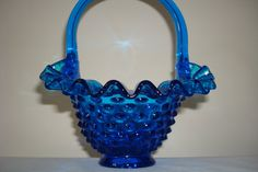 Fenton Glass Blue Hobnail Basket
