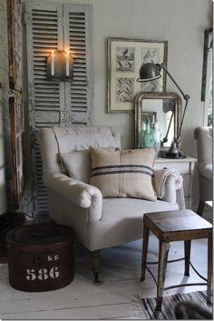 chair & shutters...  I love this corner