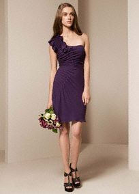 Short bridesmaid dress with beautiful asymmetrical pintucking on bodice.  Short one shoulder dress features matte crepe fabric.  Asymmetrical pintucking on bodice creates a flattering look.  Available in Amethyst, Ebony, Charcoal, and Midnight.  Fully lined. Center back zip. Dry clean.  Imported.